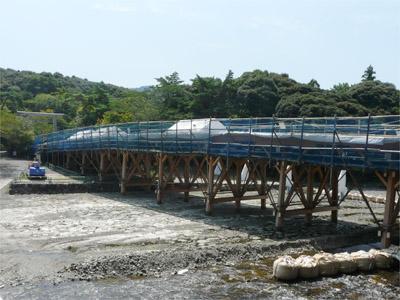 架け替え工事の宇治橋