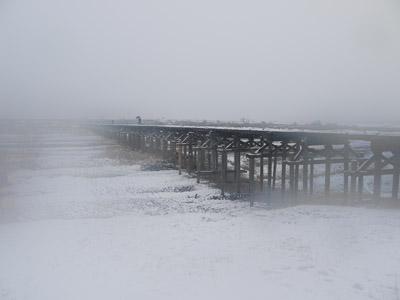 流れ橋の雪