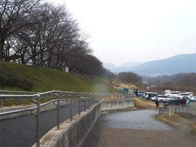 背割堤の駐車場